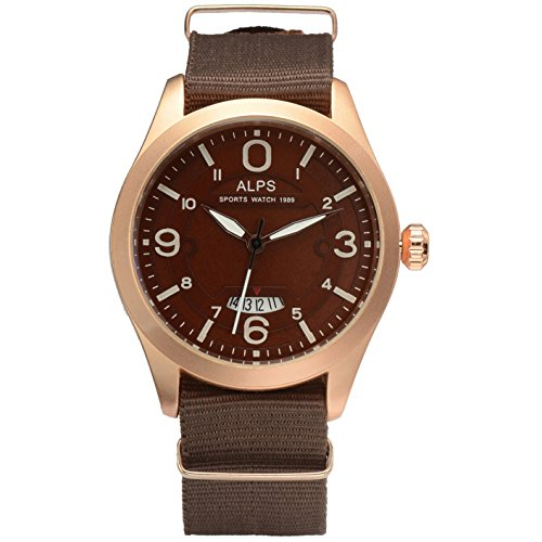 ALPS Herren Fashion Analog Display Chronograph Kalender Uhr mit Braun Leinwand Band