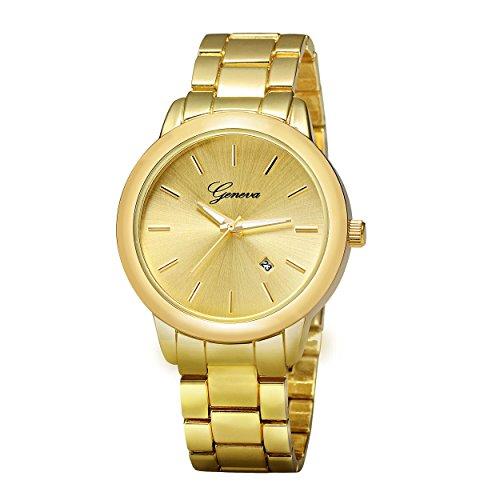 ALPS Herren Fashion Luxus Gold Kalender Edelstahl Quarz Handgelenk
