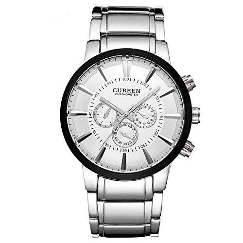 ALPS Herren s Big Dial Analog silber Edelstahl Quarz Uhr mit Link Armband