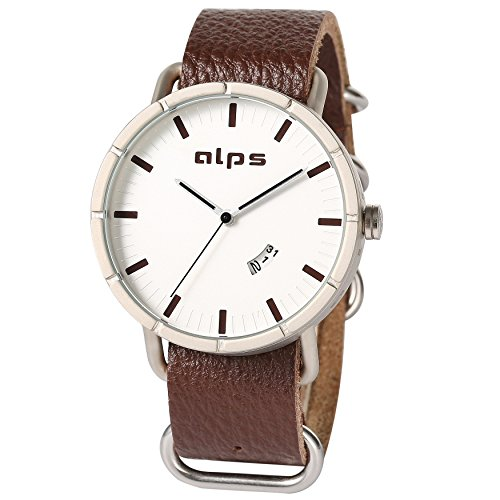 ALPS Herren Luxus Edelstahl Case Wasserdicht echtes Leder Uhren braun