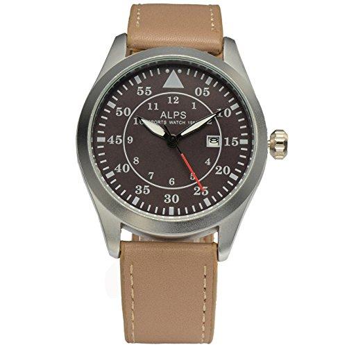 ALPS Herren Casual Military Chronograph Kalender Uhr mit Khaki Leder Band