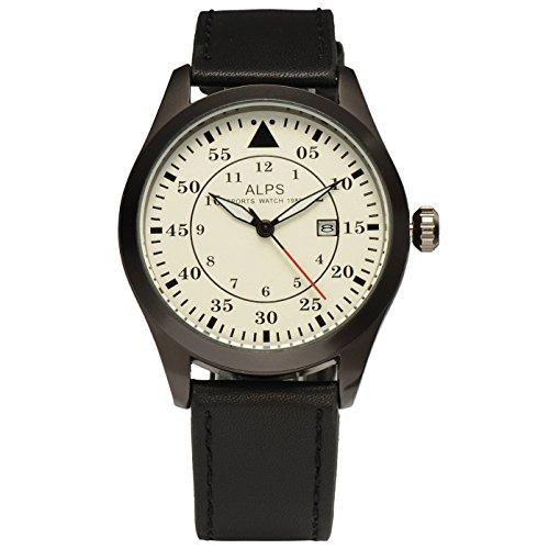 ALPS Herren Casual Military Chronograph Kalender Uhr mit Schwarz Leder Band