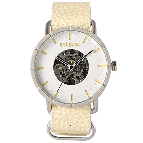 ALPS Herren Casual Skelett Mechanische automatische echtes Leder Armbanduhr gelb