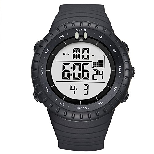 ALPS Herren Sport wasserdicht ArmbandUhren Multifunktional 5 ATM Digitales LED Display Blacklight Armbanduhr
