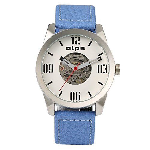ALPS Herren Casual Skelett wasserdicht Mechanische automatische echtes Leder Armbanduhr blau