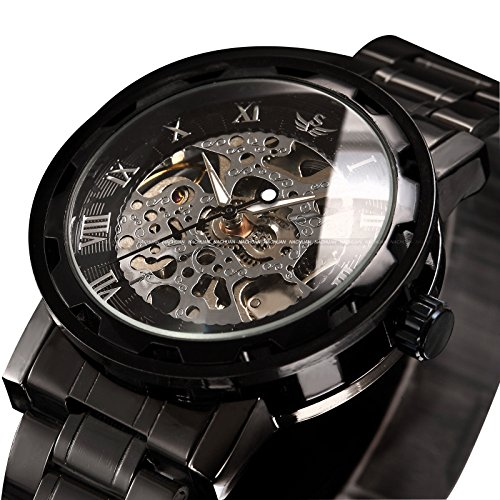 alpen Herren Armbanduhr Luxus Skelett schwarz Edelstahl Mechnical Hand Wind Kleid Armbanduhr