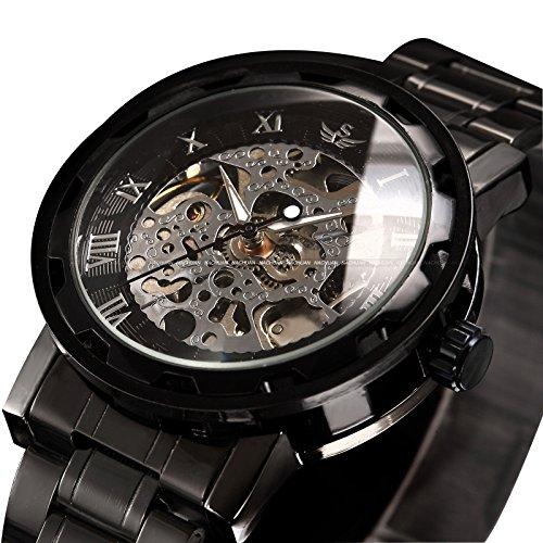 alpen Luxus Skelett schwarz Edelstahl Mechnical Hand Wind Kleid Armbanduhr
