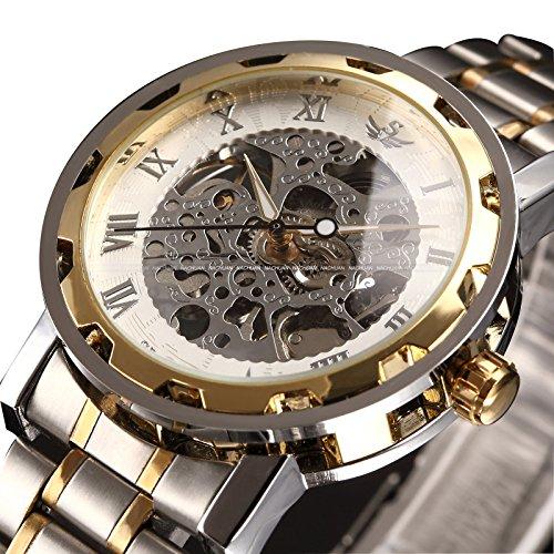 alpen Herren Classic Style Skelett Edelstahl Quarz Uhr mit Link Armband