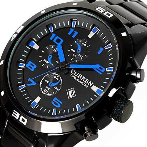 alpen Herren Sport Style Edelstahl Chronograph Armbanduhr mit Link Armband