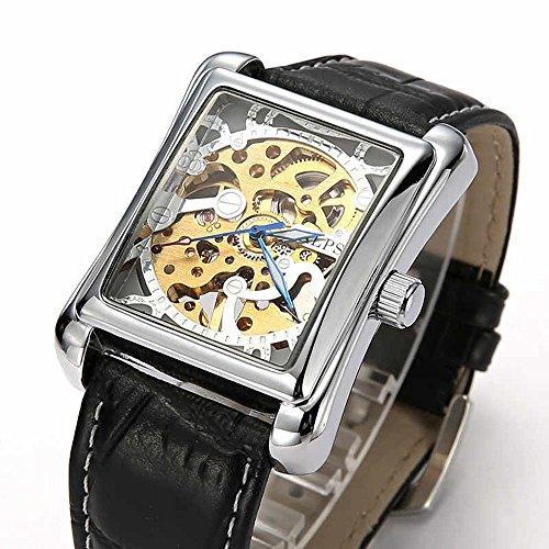 Alps Herren Luxus Skelett Armbanduhr automatisch rechteckiges Zifferblatt Automatik Uhr mit schwarzem Lederarmband