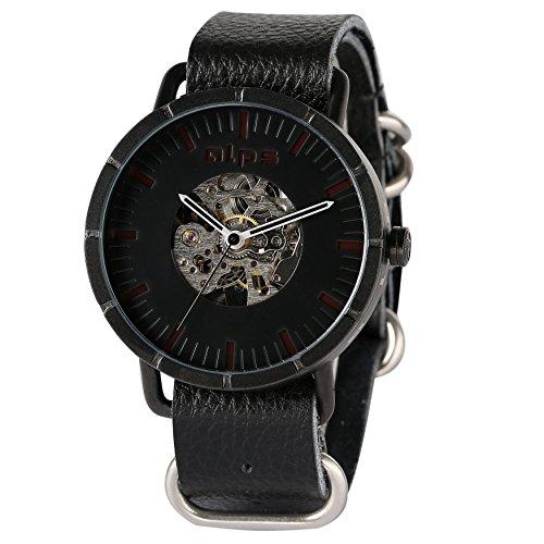 alpen Herren Casual Skelett Mechanische automatische echtes Leder Armbanduhr schwarz