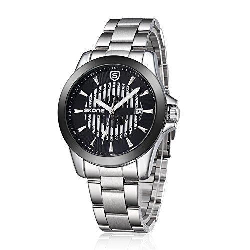 SKONE 2015 New Design Herren Hohl automatische Mechanik Uhrwerk Stahl Band 504101 silber schwarz
