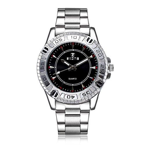 SKONE Herren Stahl Business Armbanduhr drehbar um Uhr weiss Zifferblatt sj505101