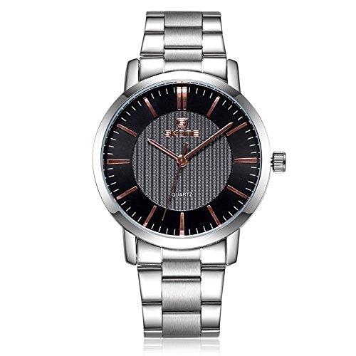 SKONE Herren Luxus Business Uhr Silber Farbe Band Schwarz Zifferblatt Gold Pointers sj505001