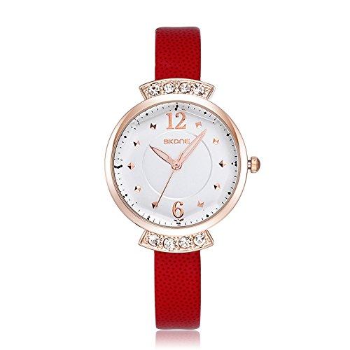 SKONE Frauen casural Kleid Strass Armbanduhr hohe Qualitaet PU Leder Band leicht Schnallen 500601 rot