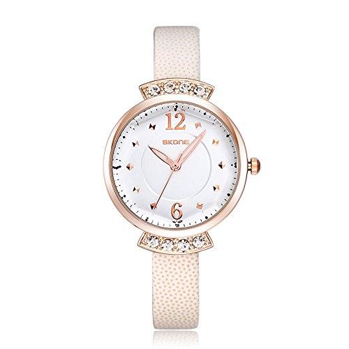 SKONE Frauen casural Kleid Strass Armbanduhr hohe Qualitaet PU Leder Band leicht Schnallen 500602 weiss