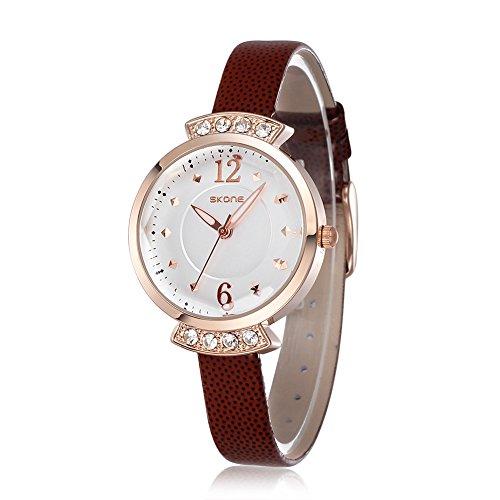 SKONE Frauen casural Kleid Strass Armbanduhr hohe Qualitaet PU Leder Band leicht Schnallen 500603 braun