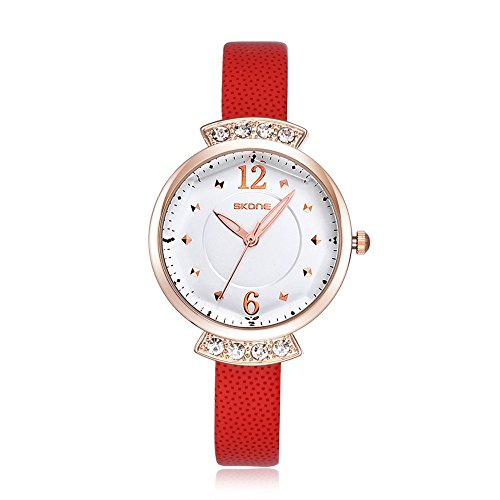 SKONE Frauen casural Kleid Strass Armbanduhr hohe Qualitaet PU Leder Band leicht Schnallen 500604 organge