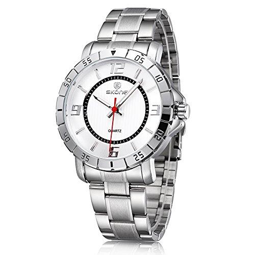 SKONE Herren Fashion Business phosphoreszierende Zeiger Armbanduhr 504302 silber schwarz