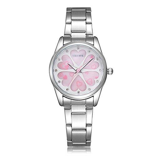 SKONE Fashion Casual Quarz Strass Uhren Frauen Shell Zifferblatt Uhren Silber Rosa Frauen Kleid Strass Casual Uhren Rose Gold Uhren