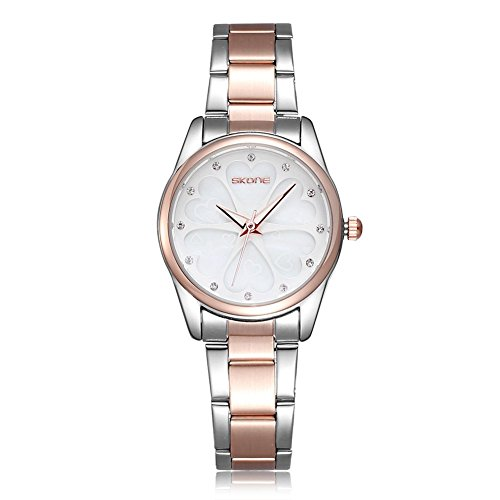 SKONE Fashion Casual Quarz Strass Uhren Frauen Shell Zifferblatt Uhren Gold Weiss Frauen Kleid Strass Casual Uhren Rose Gold Uhren