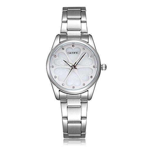 SKONE Fashion Casual Quarz Strass Uhren Frauen Shell Zifferblatt Uhren Silber Weiss Frauen Kleid Strass Casual Uhren Rose Gold Uhren