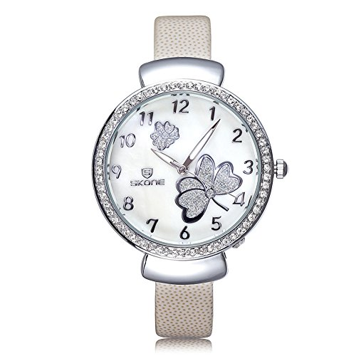 SKONE Fashion Frauen Armbanduhr leuchtendes Analog weiss PU Leder Armbanduhren