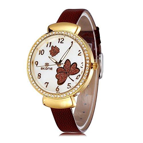 SKONE Fashion Frauen Armbanduhr Luminous Analog braun PU Leder Armbanduhren