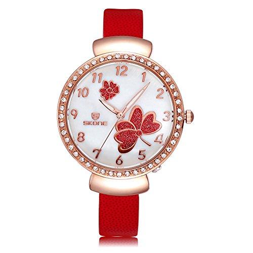 SKONE Fashion Frauen Armbanduhr Luminous Analog rot PU Leder Armbanduhren