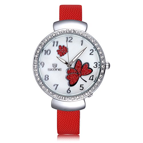 SKONE Fashion Frauen Armbanduhr Luminous Analog pink PU Leder Armbanduhren