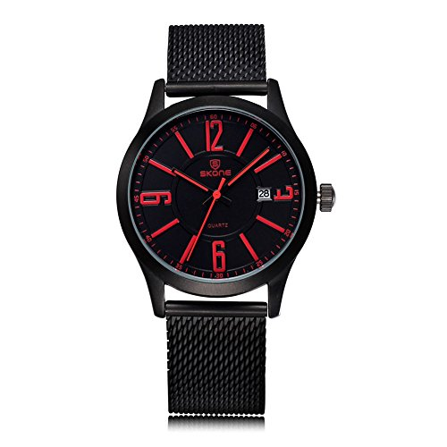 SKONE Herren Fashion Casual Uhren Legierung Schwarz Geflechten Band organge Pointers
