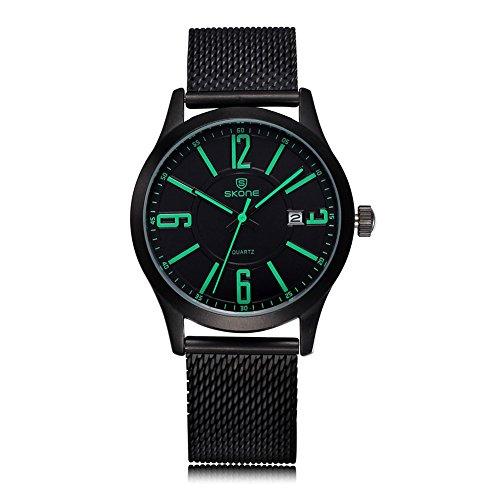 SKONE Marke Quarz Fashion Casual Uhren Legierung Schwarz Geflechten Band weiss Pointers