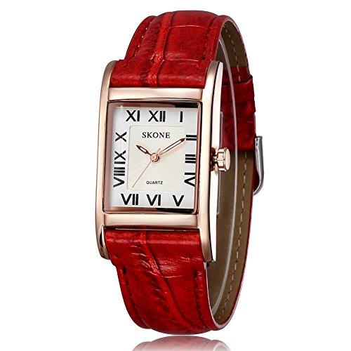 SKONE Frauen Rot Leder Band Rom Zahlen Quarz Uhren Gold Rechteck Fall Weiss Zifferblatt 505808