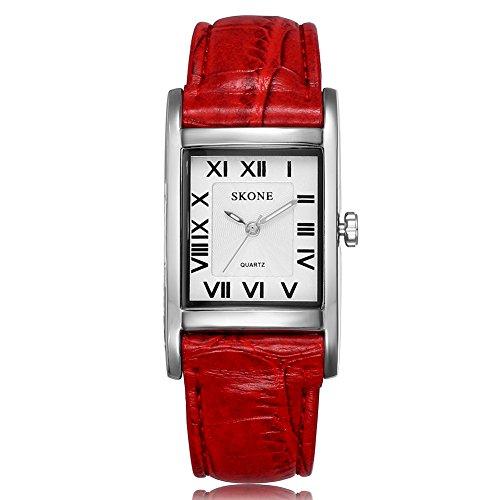 SKONE Frauen Rot Leder Band Rom Zahlen Quarz Uhren Silber Rechteck Fall Weiss Zifferblatt 505807