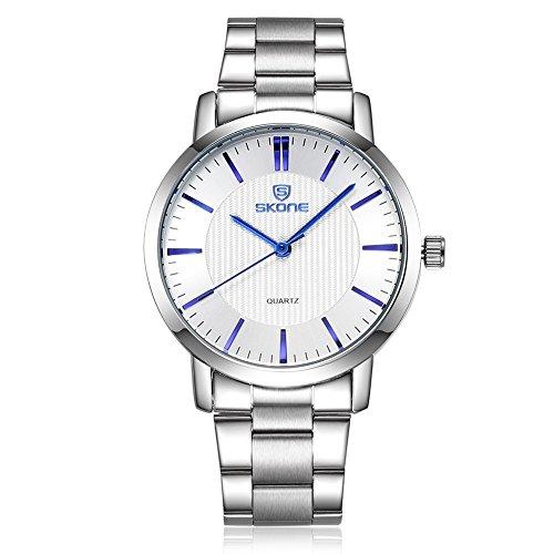 SKONE Herren Luxus Business Uhr Silber Farbe Band weiss Zifferblatt blau Pointers sj505002