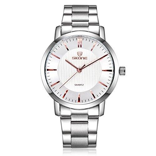 SKONE Herren Luxus Business Uhr Silber Farbe Band weiss Zifferblatt Gold Pointers sj505003