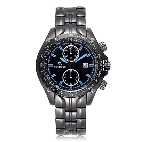 SKONE Herren Luxus Marke Classic Design Watch 504704 schwarz gruen