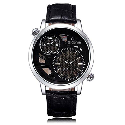 SKONE Herren Dual Time Display Uhr Schwarz Zifferblatt PU Leder Band schwarz