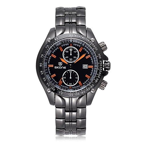 SKONE Herren Luxus Marke Klassisches Design Armbanduhr 504702 schwarz organge