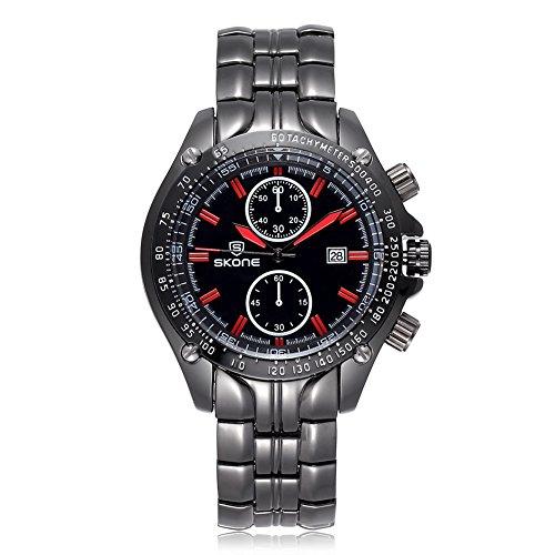 SKONE Herren Luxus Marke Klassisches Design Armbanduhr 504701 schwarz rot