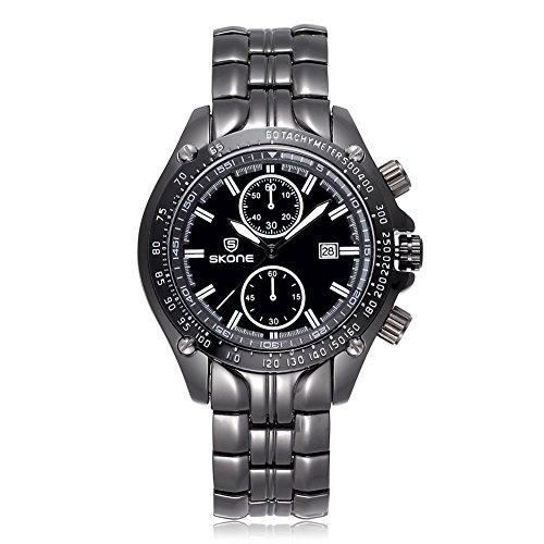 SKONE Herren Luxus Marke Klassisches Design Armbanduhr 504703 schwarz weiss