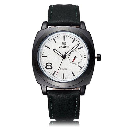 SKONE Herren Luminous Analoge Uhr Special Kalender PU Leder Band 505903 weiss
