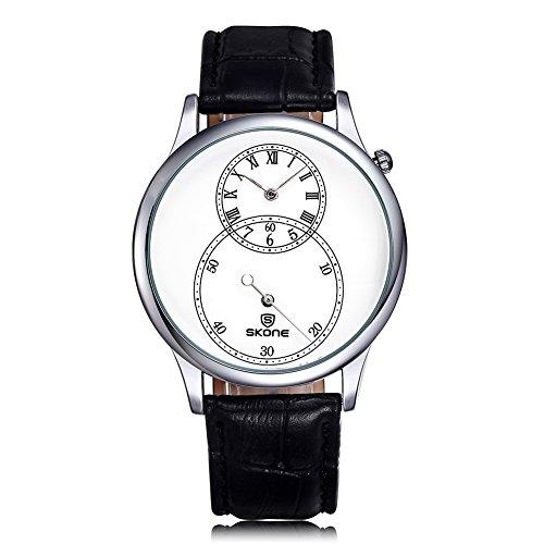 SKONE Herren Uhren Separate zweite Zifferblatt roemische Zahl Leder Armbanduhren sj506401