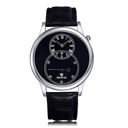 SKONE Herren Uhren Separate zweite Zifferblatt roemische Zahl Leder Armbanduhren sj506402
