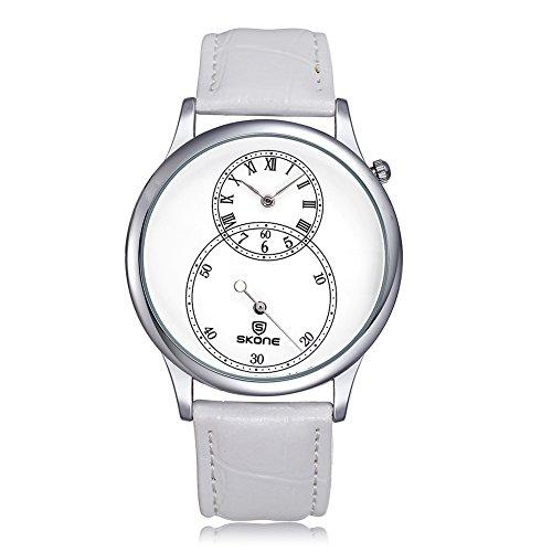 SKONE Separate zweite Zifferblatt roemische Zahl Leder Armbanduhren sj506403