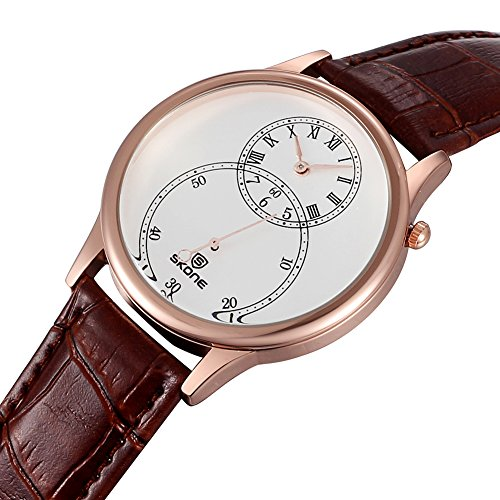 SKONE Separate zweite Zifferblatt roemische Zahl Leder Armbanduhren sj506404