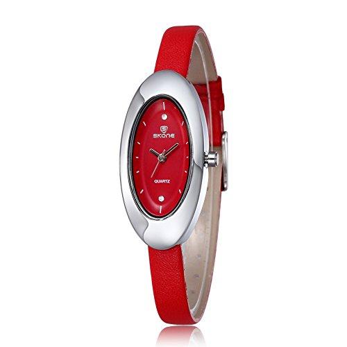 SKONE Damen Uhren Frauen Strass Uhren Oval Form Zifferblatt rot Leder Band
