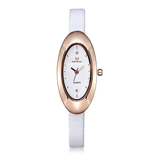 SKONE Damen Uhren Frauen Strass Uhren Oval Form Zifferblatt weiss Leder Band