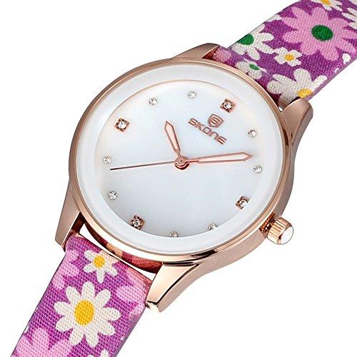 SKONE Frauen Kleid Uhren Stoff Band Quarz Uhren Strass Rose Gold Fall Violett