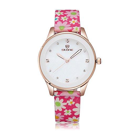 SKONE Frauen Kleid Uhren Stoff Band Quarz Uhren Strass Rose Gold Fall Pink